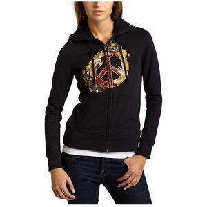 Lucky Brand Peace Sign Embroidered Hoodie